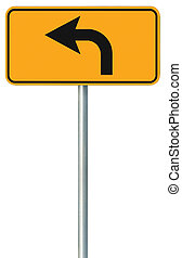 avanti, segno, tracciato, isolato, giallo, turno, bordo della strada, strada, sinistra