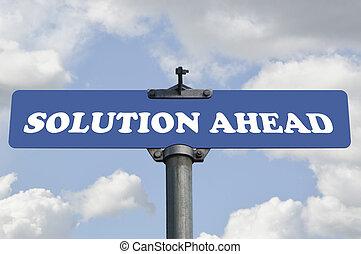 avanti, soluzione, segno strada