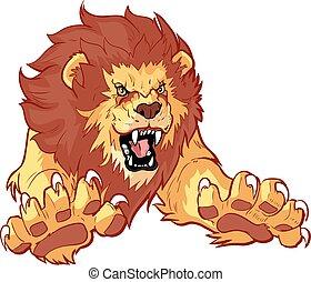 avanti, vettore, leone, ruggire, saltare