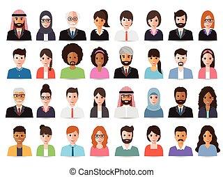 avatars., uomini affari, donne affari