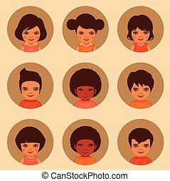 avatars, vettore, bambini