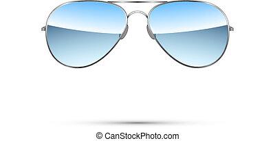 aviatore, vettore, occhiali da sole, isolato, white.