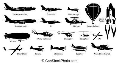 aviazione, aereo, aereo, aeroplano, differente, elenco, icons., aeroplano