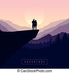 avventura, montagna, viola, natura, vista, scogliera, coppia