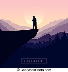 avventura, viola, vista, natura, scogliera, coppia, montagna