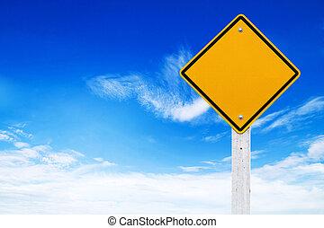 avvertimento, (clipping, segni, fondo, vuoto, cielo, strada, giallo