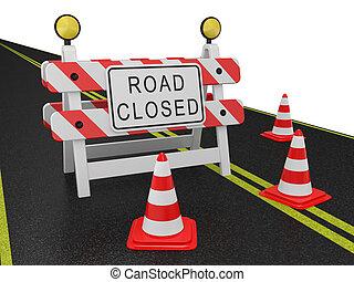 avvertimento, strada chiuse segnale
