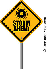 avvertimento, tempesta, segno