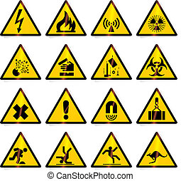 avvertimento, (vector), segni