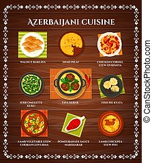 azerbaijani, cucina, menu, vettore, pasti, cartone animato