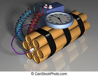 azione, bomba, primed, tempo
