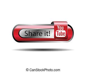 azione, bottone, youtube, esso, linea