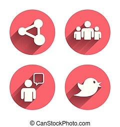 azione, persone, gruppo, bubble., discorso, icons.