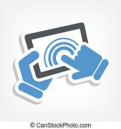 azione, touchscreen, icona