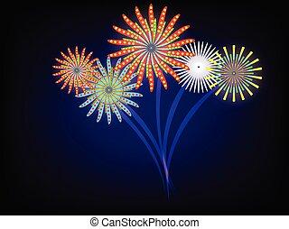 azzurro cielo, scuro, evento, fireworks