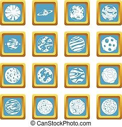 azzurro, fantastico, pianeti, icone