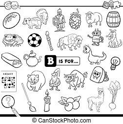 b, educativo, compito, libro colorante
