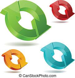 b, icone, frecce, circolante, isolato, vettore, lucido, bianco, 3d