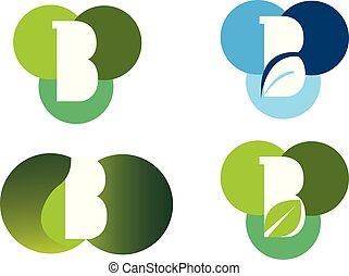 b, icone, set, lettera, sagoma, disegni elementi, logotipo