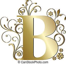 b, lettera, oro, capitale