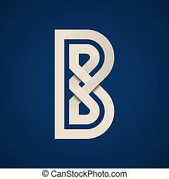b, semplice, simbolo, carta, vettore, lettera