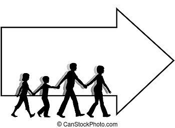 babbo, bambini, mamma, copyspace, passeggiata, =family, freccia, seguire