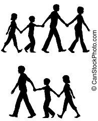 babbo, bambini, piombo, cane famiglia, passeggiata, mamma, casuale
