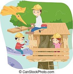 babbo, dinosauro, bambini, stickman, treehouse