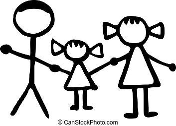 babbo, figlia, famiglia, -, mamma, stickman
