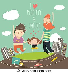 babbo, figlia, presa a terra, famiglia, saltato, mamma, mani, jumping., gioioso