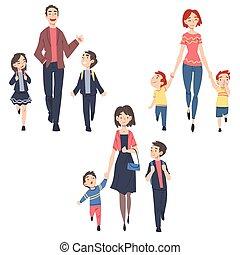 babbo, genitori, bambini, fuori, insieme, illustrazione, bambini, vettore, mattina, o, asilo, cartone animato, stile, presa, scuola, loro, camminare, mamma