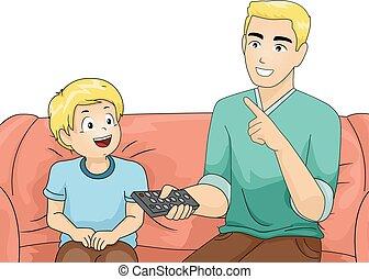 babbo, ragazzo, remoto, tv, insegnare, capretto