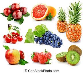 bacche, bianco, set, isolato, frutte