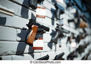 bacheca, closeup, nessuno, pistole, negozio, fucile