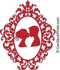 baciare, coppia, cornice