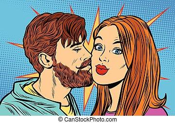 baciare, coppia, donna, uomo