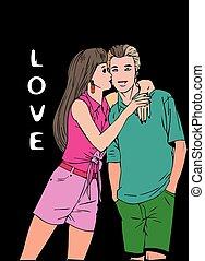 baciare coppie, giovane
