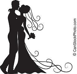 baciare, sposo, sposa