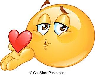 bacio, maschio, soffiando, emoticon