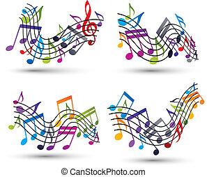 backgroun, note, doghe, giocondo, luminoso, vettore, bianco, musicale