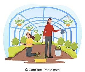 badare, giardinaggio, semenzali, persone, fioraio