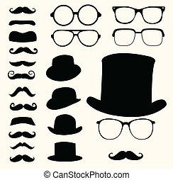 baffi, cappelli, occhiali