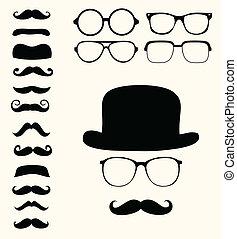 baffi, cappello, retro, occhiali