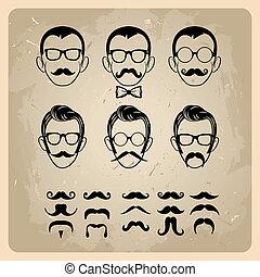 baffi, facce, occhiali da sole