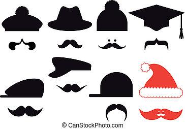baffi, set, vettore, cappelli