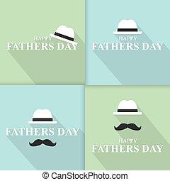 baffi, tie., vettore, giorno, father?s, felice, cappello, illustrazione, set