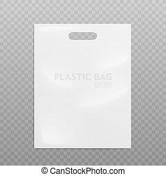 bag., plastica, realistico, trasparente, illustrazione, vettore, fondo