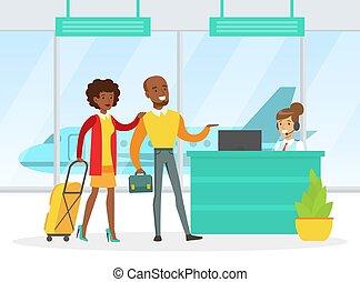 bagaglio, aereo, illustrazione, scrivania, volo, famiglia, aeroporto, standing, persone, viaggiante, vettore, coppia, registro, controllo, passaporto