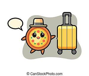 bagaglio, cartone animato, pizza, vacanza, illustrazione