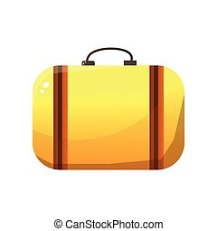 bagaglio, cuoio, illustrazione, arancia, vettore, retro, valigia, viaggiatore